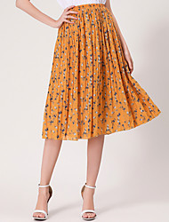 A Line Print Skirts,Casual/Daily Simple Mid Rise Midi Elasticity Linen Micro-elastic Spring Summer
