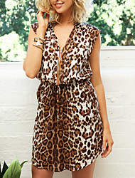 Women's Going out Casual Party Sexy Simple Street chic Loose Sheath Dress Leopard Print V Neck Above Knee Sleeveless Brown