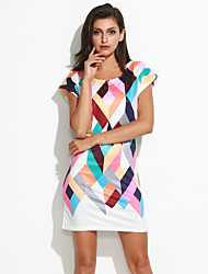 cheap -Women's Going out Street chic Sheath Dress - Color Block Print / Summer / Slim