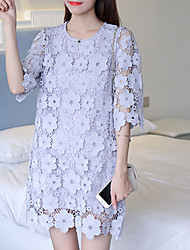 Women's Lace Going out Casual/Daily Holiday Sexy Simple Cute A Line Dress,Solid Round Neck Above Knee ¾ Sleeve Blue Black Others All Seasons