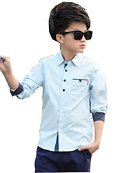cheap -Boys' Daily Solid Shirt, Cotton Rayon Spring Summer Long Sleeves White Blushing Pink Light Blue