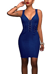 Women's Lace up Casual/Daily Club Sexy Street chic Criss-Cross Backless Bodycon Denim DressSolid V Neck Above Knee Sleeveless Summer Fall Mid Rise