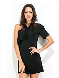 Dámské Sexy Sofistikované Běžné/Denní Společenské Pouzdro Šaty Jednobarevné,Krátký rukáv Jedno rameno Mini Černá Bavlna Léto High Rise