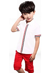 Boy's Cotton Fashion Red/ Blue Stripe Splicing Short-Sleeved Shirt Red Leisure Wear Shorts Two-Piece Outfitwith any accessories