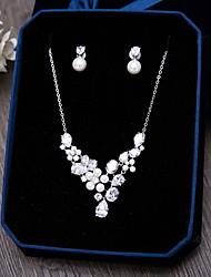 Недорогие -Цирконий Свадьба Для вечеринок Особые случаи Повседневные Циркон 1 ожерелье 1 пара сережек