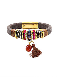Leather Bracelet Friendship Fashion Bohemian Handmade Leather Rhinestone Alloy Flower Number Irregular Jewelry Jewelry For Wedding Party