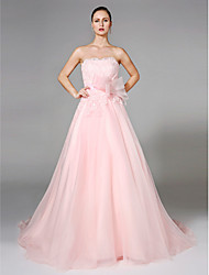A-Line Strapless Court Train Organza Wedding Dress with Appliques Sash / Ribbon Bow by LAN TING BRIDE®