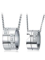 Collane con ciondolo Zirconi Circolare A forma di cuore Zircone cubico Placcato in platino Circolare Argento Gioielli PerMatrimonio Feste