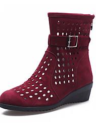 Women's Dance Shoes Hollow Velvet Velvet Modern / Dance Boots /Boots Low Heel Black/Red/Green