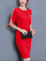 cheap -Women's Plus Size Going out Cotton Sheath Dress - Solid Colored Red, Beaded