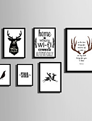 cheap -E-HOME® Framed Canvas Art  Simple Animals And  Letters  (2) Theme Series Framed Canvas Print One Pcs