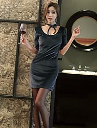 2017 Spring Women Korean Slim thin halter backless velvet bag hip sexy dress