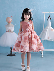 Ball Gown Knee Length Flower Girl Dress - Lace Tulle Satin Chiffon Sleeveless Jewel Neck with Pearl