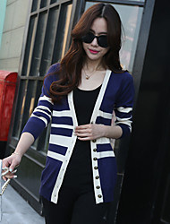Women's Casual/Daily Short Cardigan,Solid Round Neck Long Sleeve Others All Seasons Medium Micro-elastic