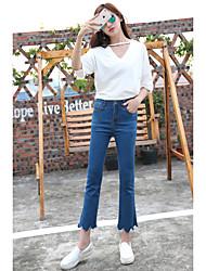 printemps et en automne afflux de nouveaux vague coréenne pantalon taille élastique brodé micro haut-parleur mince jean minces neuf points