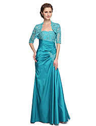 cheap -Mermaid / Trumpet Strapless Floor Length Lace Taffeta Mother of the Bride Dress with Beading Appliques Pleats by LAN TING BRIDE®