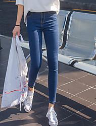 Model real shot 2017 spring new Korean high waist stretch pants feet Slim jeans female trousers wild