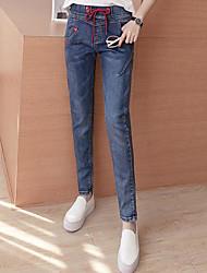 Sign waist lace elastic waist harem jeans Miss students Slim thin pencil pants nine points