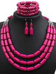 baratos -Mulheres Conjunto de jóias - Euramerican Incluir Vermelho Rosa / Verde / Azul Para Casamento / Festa / Ocasião Especial