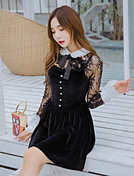 cheap -Women's Engagement Daily Wedding Party Date Street Sexy A Line Dress,Others Classic Collar Above Knee, Mini Long Sleeves Lace Summer High