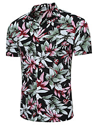 cheap -Men's Daily Chinoiserie Shirt,Check Classic Collar Short Sleeves Cotton