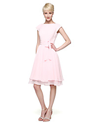 A-Line Princess Jewel Neck Knee Length Chiffon Bridesmaid Dress with Bow(s) Buttons Sash / Ribbon Ruching by LAN TING BRIDE®