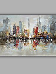 Hand-Painted Abstract Impression City Oil painting Ready To Hang Modern One Panels Canvas Oil Painting For Home Decoration