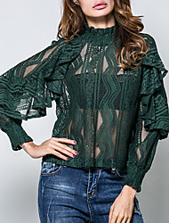 Women's Formal Going out Work Sexy Vintage Street chic Spring Summer Shirt,Solid Jacquard Crew Neck Long Sleeves Cotton Translucent