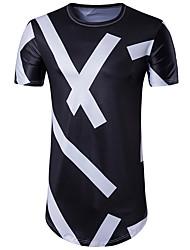 cheap -Men's Sports Street chic T-shirt - Geometric Round Neck Black & White