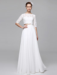 cheap -A-Line Two Piece Illusion Neckline Floor Length Chiffon Corded Lace Custom Wedding Dresses with Appliques Draping by LAN TING BRIDE®