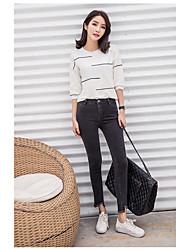 Sign spring female trousers elastic waist jeans feet nine points Slim was thin Korean pencil pants