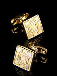 Bouton de manchette Pince Cravate Pince à cravate Cuivre Mode Boîtes et sacs cadeaux Boutons de manchettes Doré 1 paire