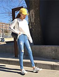 assinar minimalista tipo de micro-bomba foi calças jeans finos Baoshen calça casual calças lápis nett