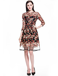 Sign 2017 new commuter sleeve dress embroidered gauze dress was thin suit