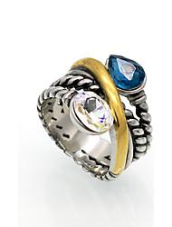 preiswerte -Herrn Damen Ring Personalisiert Geometrisch Retro Doppelschicht Modisch Rock Euramerican Kubikzirkonia Titanstahl Geometrische Form