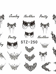 5pcs/set Hot Fashion Nail Art Lace Belt Water Transfer Sticker Beautiful Black Necklace Jewelry Design Decoration STZ-250