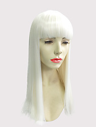 Mulher Perucas sintéticas Sem Touca Longo Liso Kinky Liso Branco Com Franjas Peruca Natural Peruca de Halloween Peruca de carnaval