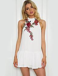 Damen Hülle Kleid-Urlaub Lässig/Alltäglich Strand Sexy Retro Street Schick Blumen Ständer Mini Ärmellos Polyester Sommer Hohe Hüfthöhe