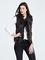 baratos -Mulheres Casaco de Pêlo Simples Casual Inverno, Sólido