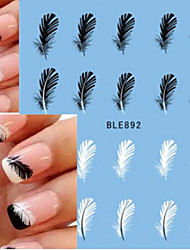 cheap -10pcs Hot Sale Summer Nail Art Water Transfer Decals Beautiful Black&White Feather Sticker Nail Art Beauty Decals BLE892
