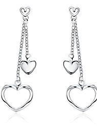 Women's Girls' Drop Earrings Crystal Heart Silver Plated Heart Jewelry For Wedding Party Daily Casual