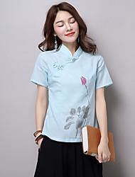 abordables -Mujer Tejido Oriental Uso Diario Cita Vacaciones Calle Verano Camiseta,Escote Chino Florales Manga Corta N/A Medio