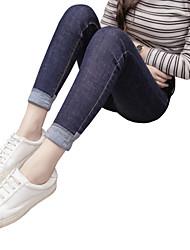 Korean version of spring models dark blue jeans female flanging pantyhose feet pencil pants thin Slim trousers