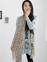 Long Silk Chiffon Scarves Kitten Printed Scarf Shawl Cat Rectangle Print Women's
