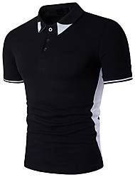 Men's Casual/Daily Sports Simple Active Summer Polo,Color Block Shirt Collar Short Sleeve Cotton Rayon Thin