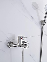 Contemporary Wall Mounted Handshower Included Ceramic Valve Two Holes Single Handle Two Holes Nickel Brushed , Bathtub Faucet