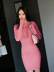 Women's Daily Engagement Party Wedding Party Street Sexy Shift Dress,Solid Color Sexy Round Above Knee, Mini Long Sleeves N/A Fall High