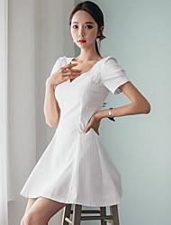 assinar korea compra de nova primavera e verão 2017 magro era senhoras cintura esguios de mangas curtas vestido de decote em V listrado