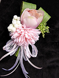 Wedding Flowers Free-form Lilies Peonies Boutonnieres Wedding Party/ Evening Pink / Red / Dark Purple / Light Purple Satin