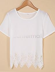Grandes mulheres aliexpress novo local&# 39; s volta do pescoço de mangas curtas camisa de chiffon queima flores